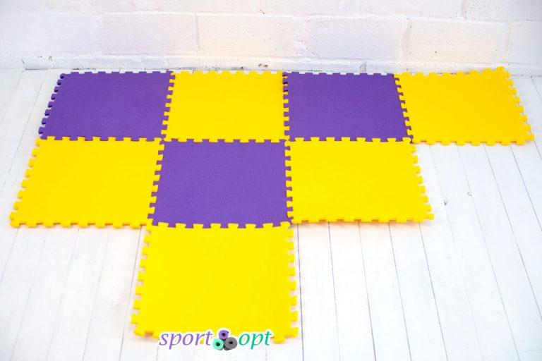 Мягкое напольное модульное покрытие (желто-фиолетовое).