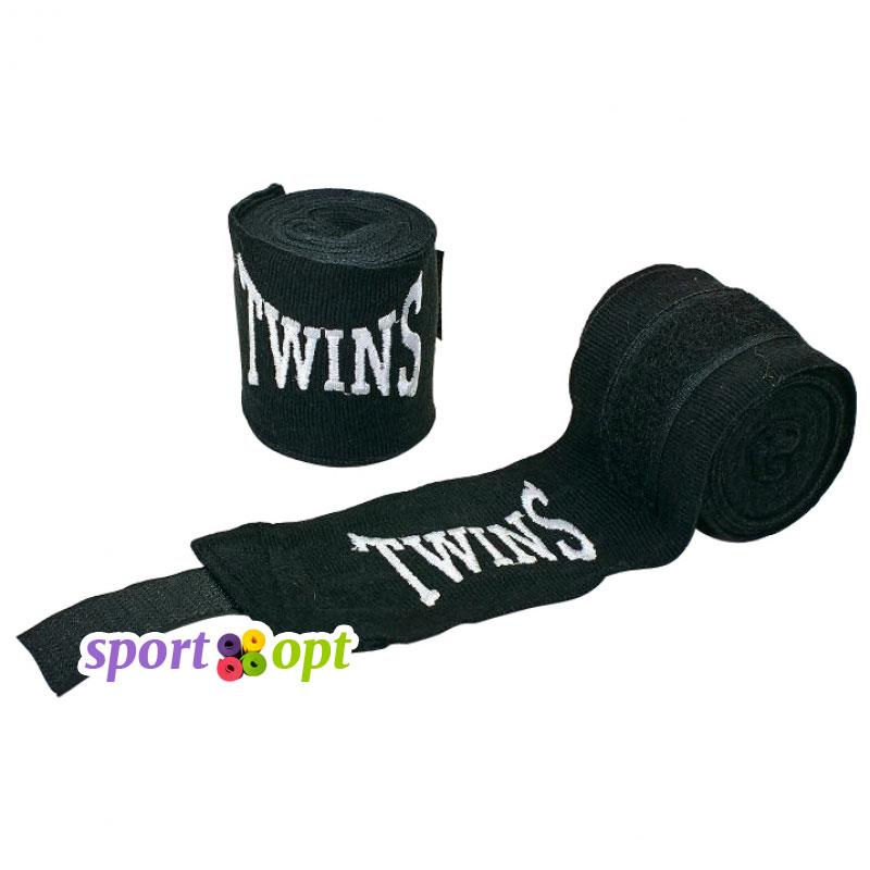 Боксерский бинт Twins (чёрный). Фото №1.