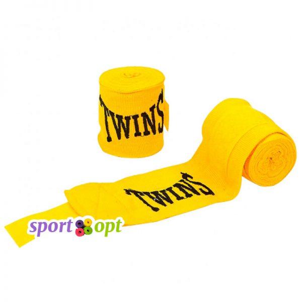 Боксерский бинт Twins (жёлтый). Фото №1.