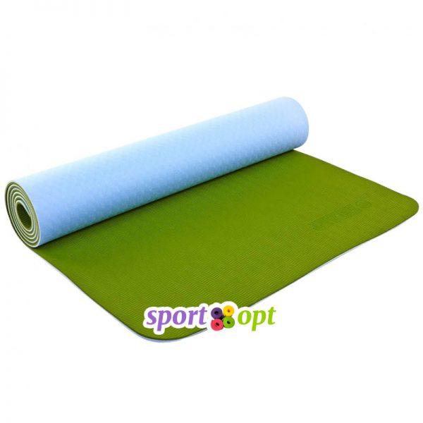 Коврик для йоги Zelart (голубой/оливковый).