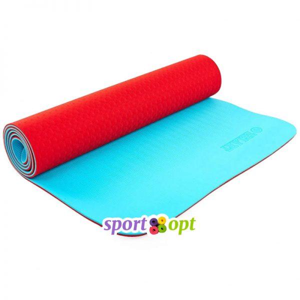 Коврик для йоги Zelart (красный/голубой).