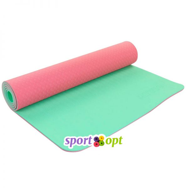Коврик для йоги Zelart (розовый/мятный).