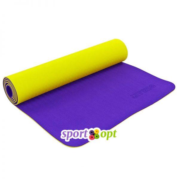 Коврик для йоги Zelart (жёлтый/фиолетовый).