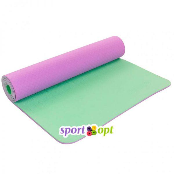 Коврик для йоги Zelart (фиолетовый/мятный).