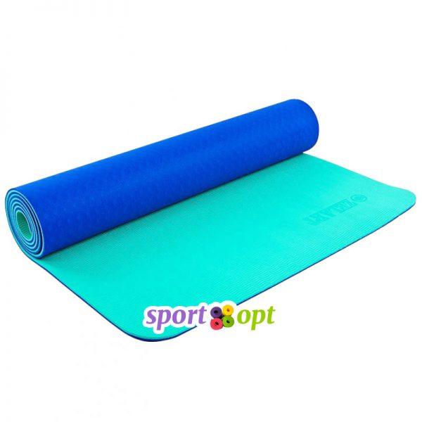 Коврик для йоги Zelart (синий/мятный).
