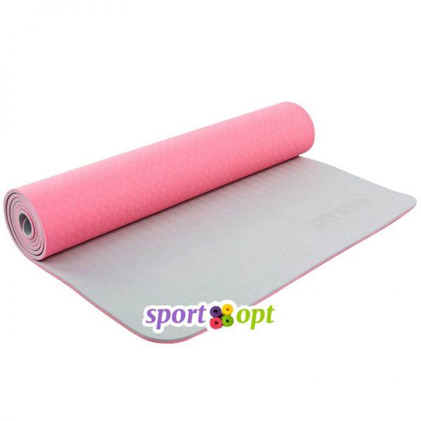 Коврик для йоги Zelart (розовый/серый).