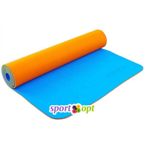 Коврик для йоги Zelart (оранжевый/синий).