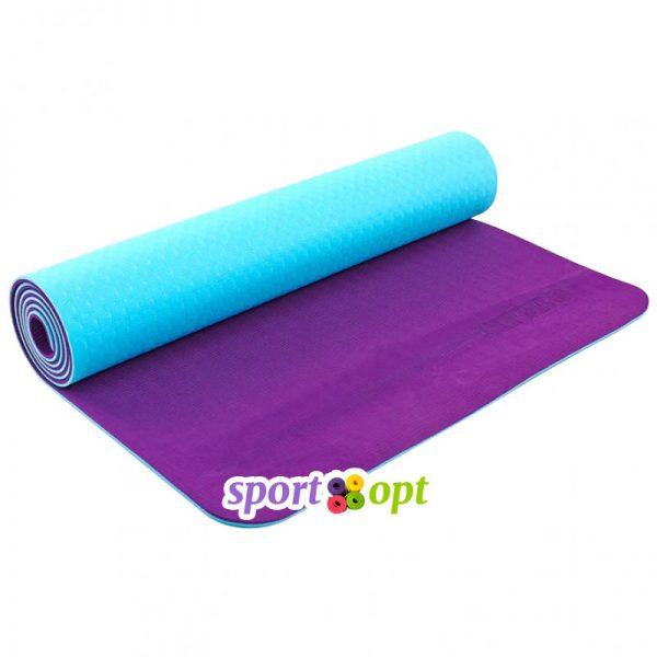 Коврик для йоги Zelart (голубой/фиолетовый).