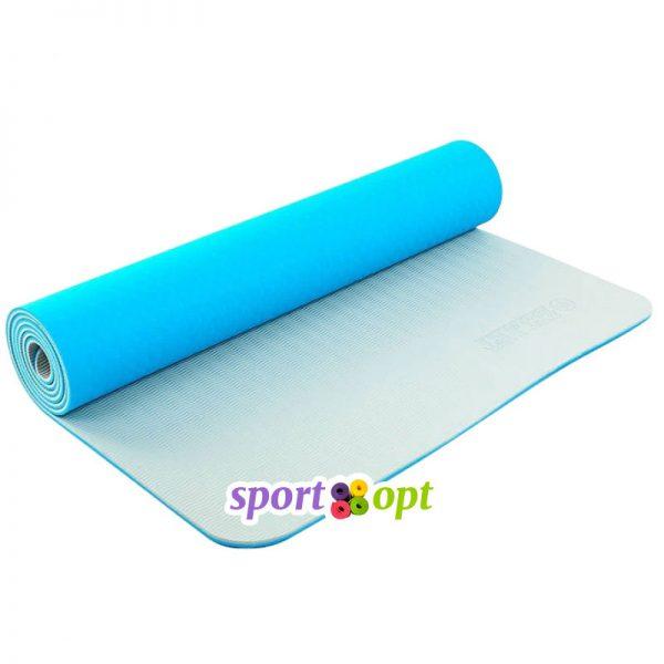 Коврик для йоги Zelart (голубой/серый).