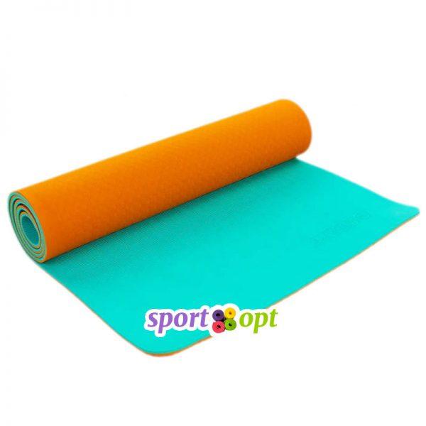 Коврик для йоги Zelart (оранжевый/мятный).