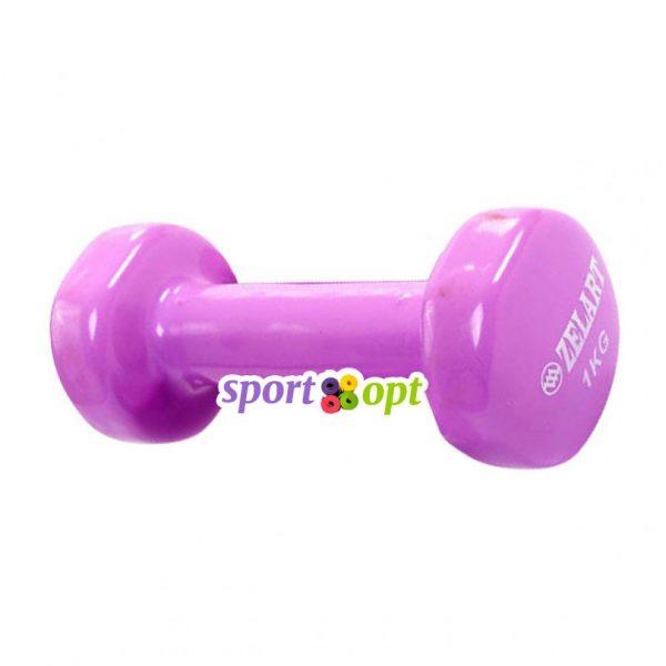 Гантель для фитнеса Zelart ZF2. Фиолетово-красного цвета.