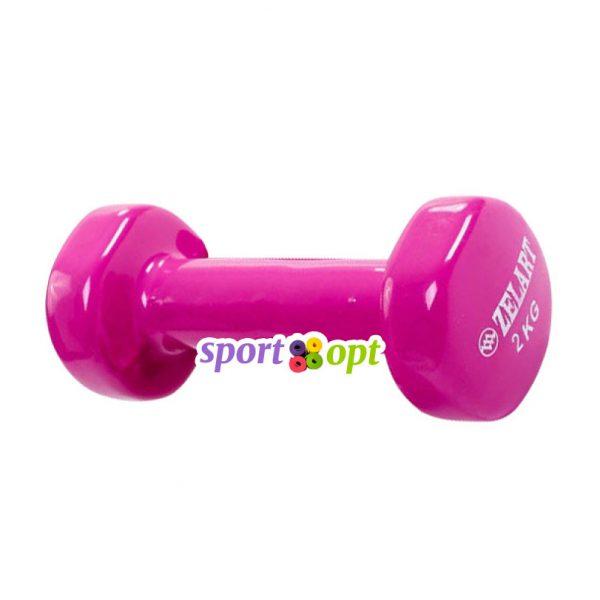 Гантель для фитнеса Zelart ZF4. Фиолетово-красного цвета.