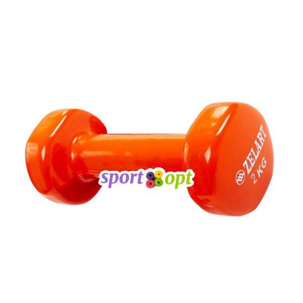 Гантель для фитнеса Zelart ZF4. Оранжевого цвета.