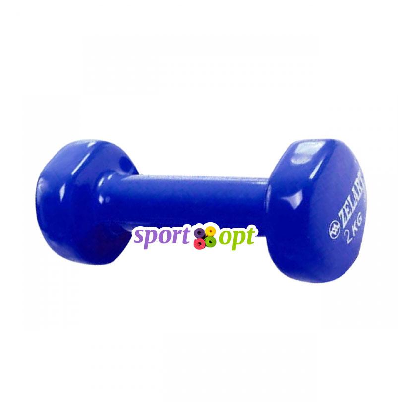 Гантель для фитнеса Zelart ZF4. Синего цвета.