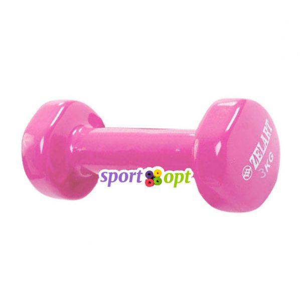 Гантель для фитнеса Zelart ZF5. Розового цвета.